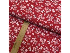 Bavlněné plátno -  Ptáčci a květiny bílé na červené - šíře 150cm/1bm
