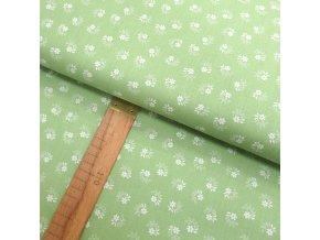 Bavlněné plátno -  Květiny bílé na světle zelenkavé - šíře 150cm/1bm