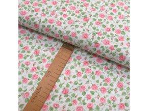 Bavlněné plátno -  Růžičky růžovo-zelené na bílé - šíře 150cm/1bm