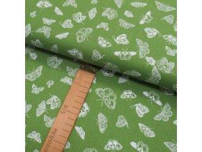 Bavlněné plátno -  Motýlci bílí na zelené - šíře 150cm/1bm