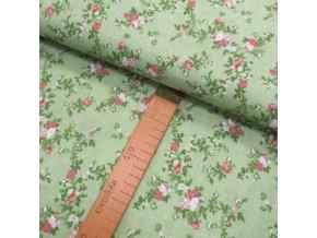 Bavlněné plátno - Růžičky růžovo zelené na zelené - šíře 150cm/1bm