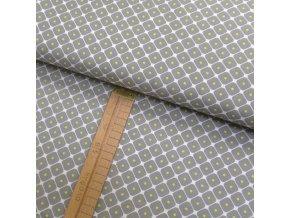 Bavlněné plátno - Kosočtverce šedé na bílé - šíře 150cm/1bm