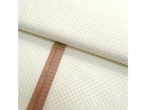 Bavlněné plátno - Květy světle žluté na bílé - šíře 150cm/1bm