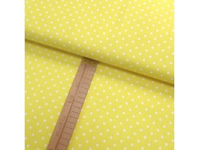 Bavlněné plátno - Puntík bílý na žluté - šíře 150cm/1bm