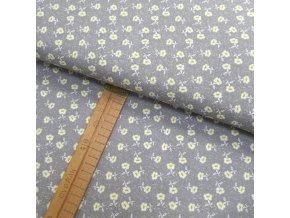 Bavlněné plátno - Květiny bílo žluté na šedé - šíře 150cm/1bm