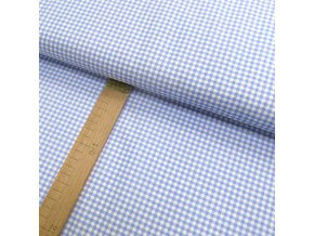 Bavlněné plátno - Pepitko světle modré, bílé - šíře 150cm/1bm