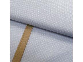 Bavlněné plátno - Puntík bílý na světle modro-šedé - šíře 150cm/1bm