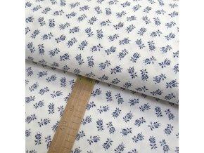 Bavlněné plátno - Růže modré na bílé - šíře 150cm/1bm