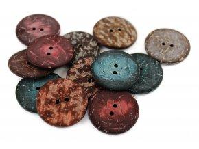 """Knoflík dvoudírkový -imitující kokosový - 44"""" - 27,94mm - různé barvy"""