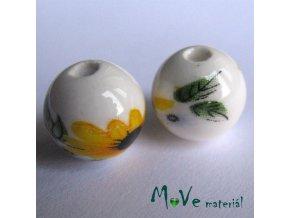 Porcelánový korálek - žluté kytičky, 12 mm, 2 kus
