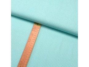 Bavlněné plátno - Puntík bílý na mentolové - šíře 150cm/1bm