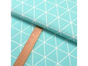 Bavlněné plátno - Trojúhelník bílá, mentolová - šíře 150cm/1bm