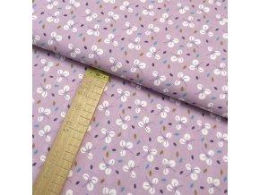 Bavlněné plátno - Listy bílé na lila - šíře 150cm/1bm