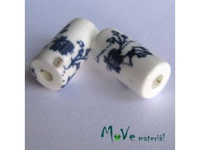 Korálek porcelánový váleček 8x17mm, 1ks