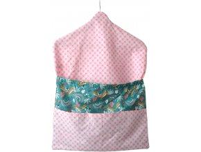 Kapsář - růžová, smaragdová - do školky s ramínkem