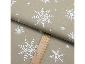 Bavlněné plátno - Vločky bílé na béžové - šíře 150cm/1bm