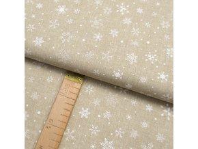 Bavlněné plátno - Vločky bílé na béžové lněné půdě - šíře 150cm/1bm