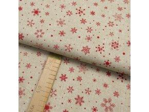 Bavlněné plátno - Vločky červené na béžové lněné půdě- šíře 150cm/1bm
