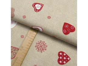Bavlněné plátno - Srdce, vločky bílo-červené na béžové lněné půdě - šíře 150cm/1bm