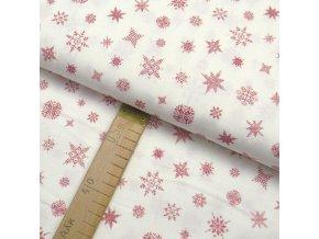 Bavlněné plátno - Vločky, hvězdy červené na bílé - šíře 150cm/1bm