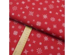 Bavlněné plátno - Vločky, hvězdy bílé na červené - šíře 150cm/1bm