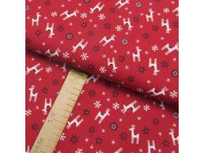 Bavlněné plátno -Bílí jeleni a vločky, vínové hvězdy na červené - šíře 150cm/1bm