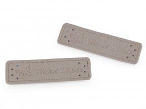 Cedulka - nášivka Hand made - 15 x 50mm / 1ks / šedo-béžová