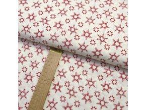 Bavlněné plátno - Vločky červené na bílé - šíře 150cm/1bm