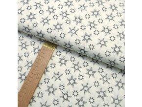 Bavlněné plátno - Vločky šedé na bílé - šíře 150cm/1bm