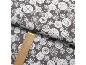 Bavlněné plátno - Vločky kruhové bílé na šedé - šíře 150cm/1bm