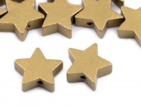 Korálek dřevěný hvězda - 19mm - zlatá