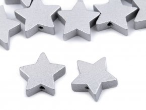 Korálek dřevěný hvězda - 19mm - stříbrná