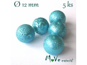 """Voskové perle """"Zigana"""" 12mm, 5ks, tyrkysová"""