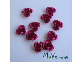 Korálek růžička 10mm, 10ks tm. růžová