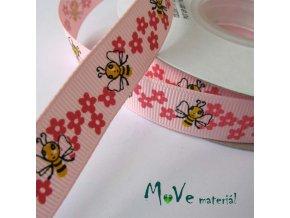 Stuha rypsová včelky 18mm 1m, růžová