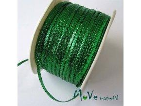 Stuha s lurexem zelená, 3mm, 1m