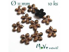 Květina plast 11mm našívací 10 ks hnědá