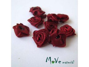 Růžička saténová bordó 12mm, 10kusy