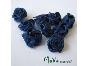 Růžička saténová modrá 12mm, 10kusy