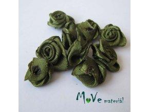 Růžička saténová khaki 12mm, 10kusy