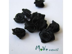 Růžička saténová černá 12mm, 10kusy