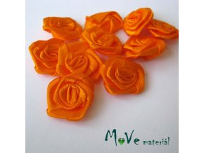 Růžička saténová oranžová 20mm, 10kusů