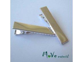 Spona do vlasů plochá se zoubky stříbrná délka 33mm, 2ks