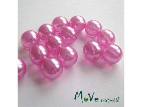 České voskové perle průsvitné růžové 10mm, 14ks