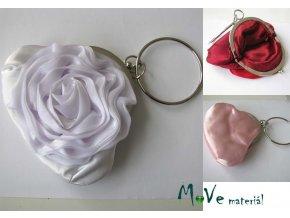 Slavnostní kabelka s růží saténová bílá
