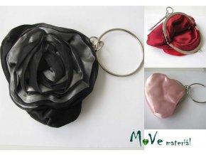 Slavnostní kabelka s růží saténová černá