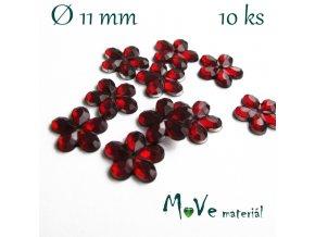 Květina plast 11mm našívací 10 ks tm. červená