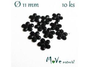 Květina plast našívací 10 ks černá