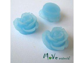 Kabošon květ průsvitný A2 - resin - 2ks, sv. modrá