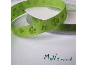 Stuha saténová balerínky 10mm, 1m, zelená